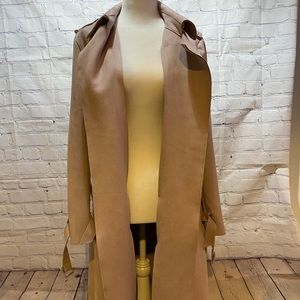 Zara blush pink faux suede trench coat.